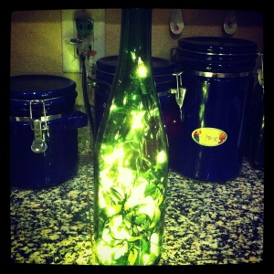 Repurposed wine bottle lit up