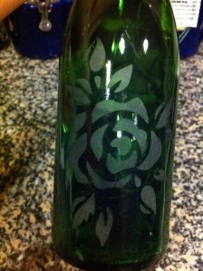 Repurposed wine bottle unlit