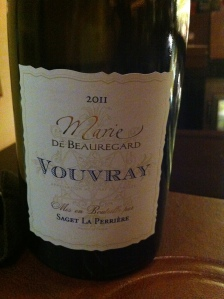 Marie de Beauregard 2011 Vouvray bottle